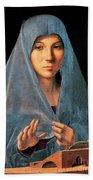Virgin Of Annunciation Painting By Antonello Di Antonio Dit Antonello Da Messina Bath Towel