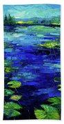Water Lilies Story Impressionistic Impasto Palette Knife Oil Painting Mona Edulesco Bath Towel