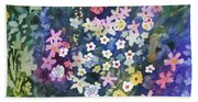 Watercolor - Alpine Wildflower Design Bath Towel