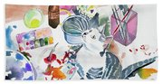 Watercolor - Kitten On My Painting Table Bath Towel
