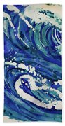 Watercolor - Ocean Wave Design Hand Towel