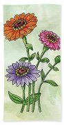 Watercolor Orange Pink Purple Zinnia Flowers Bath Towel