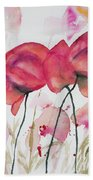 Watercolor - Poppy Portrait Bath Towel
