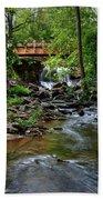 Waterfall With Wooden Bridge Hand Towel