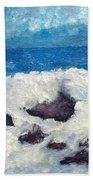 Wave Over Rocks Bath Towel