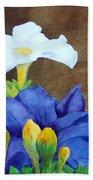White And Purple Petunia And Marigolds Bath Towel