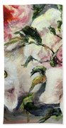 White Cat And Pink Roses Hand Towel by Ryn Shell