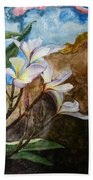 White Flower With Abstract Background Bath Towel