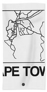 White Map Of Cape Town Bath Towel