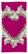 White Orchid Floral Heart Love And Romance Bath Towel by Rose Santuci-Sofranko
