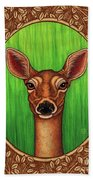 White Tailed Doe Portrait - Brown Border Bath Towel by Amy E Fraser