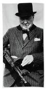 Winston Churchill With Tommy Gun Bath Towel