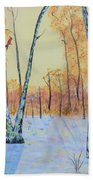 Winter Birches-cardinal Left Bath Towel