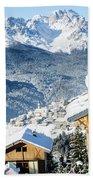 Winter Landscape On The Italian Dolomites Bath Towel