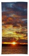 Winter Sunset Over Grand Island Bath Towel