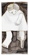 Woman With A Wooden Leg Drawing Bath Towel