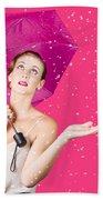 Woman With Umbrella Bath Towel