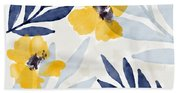 Yellow And Navy 1- Floral Art By Linda Woods Bath Towel