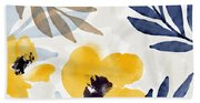Yellow And Navy 3- Floral Art By Linda Woods Bath Towel