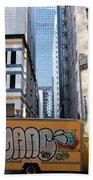 Yellow Graffiti Truck Downtown La Bath Towel