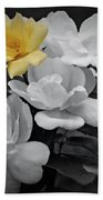 Yellow Rose Cluster Partial Color Bath Towel