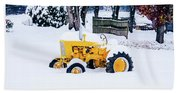 Yellow Tractor In The Snow Hand Towel