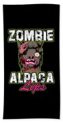Zombie Alpaca Lips Halloween Pun Llama Alpacalypse Dark Bath Towel
