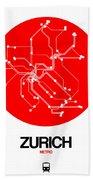 Zurich Red Subway Map Bath Towel