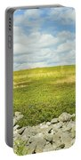 Blueberry Field With Blue Sky And Clouds In Maine Portable Battery Charger