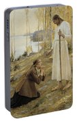 Christ And Mary Magdalene A Finnish Legend Portable Battery Charger