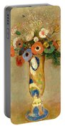 Flowers In A Painted Vase Portable Battery Charger by Odilon Redon