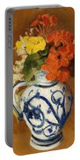 Geraniums And Other Flowers In A Stoneware Vase Portable Battery Charger