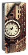 Historic Clock Of The Fifth Avenue Portable Battery Charger