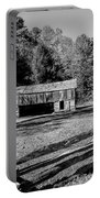 Historical Cantilever Barn At Cades Cove Tennessee In Black And White Portable Battery Charger by Kathy Clark