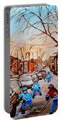 Hockey Art- Verdun Street Scene - Paintings Of Montreal Portable Battery Charger