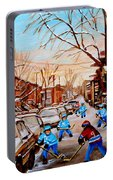 Hockey Art- Verdun Street Scene - Paintings Of Montreal Portable Battery Charger
