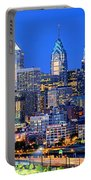 Philadelphia Skyline At Night Evening Panorama Portable Battery Charger