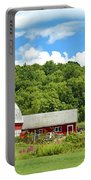 Red Farmstead In Summer Portable Battery Charger