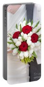 Red Rose And White Tulip Wedding Bouquet Portable Battery Charger