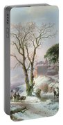 Wooded Winter River Landscape Portable Battery Charger