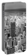 0036 Chicago Skyline Black And White Portable Battery Charger