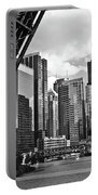 0365 North Branch Chicago River Black And White Portable Battery Charger