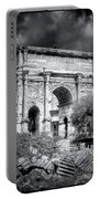 0791 The Arch Of Septimius Severus Black And White Portable Battery Charger