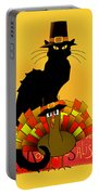 Thanksgiving Le Chat Noir With Turkey Pilgrim Portable Battery Charger