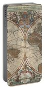 1691 Sanson Map Of The World On Hemisphere Projection Portable Battery Charger by Paul Fearn