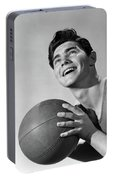 1950s Smiling Boy Holding Basketball Portable Battery Charger