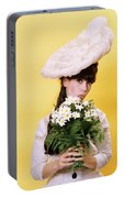 1960s Glamour Woman In White Turn Portable Battery Charger