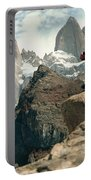 A Young Woman Gazes At Cerro Fitzroy Portable Battery Charger
