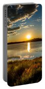 Alaskan Midnight Sun Over The Lake Portable Battery Charger
