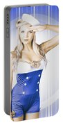 American Pinup Poster Girl In Military Uniform Portable Battery Charger